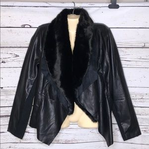 I Jeans by Buffalo NWT L Faux Fur Leather Jacket